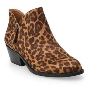 New SO Women's Leopard Ankle Booties Ankle Boots